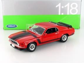 Ford Mustang Boss 302 Baujahr 1970 rot / schwarz 1:18 Welly