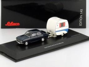 Opel Kadett B mit Knaus Schwalbennest dunkel blau 1:43 Schuco