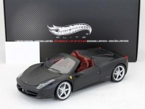 Ferrari 458 Italia Spider Bj. 2011 matt black / dark red 1:18 HotWheels Elite