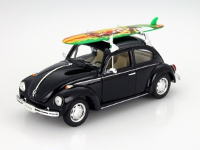 Volkswagen VW Käfer Hard Top with orange surfboard year 1959 black 1:24 Welly