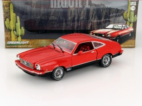 Ford Mustang II Mach 1 year 1976 red / black 1:18 Greenlight