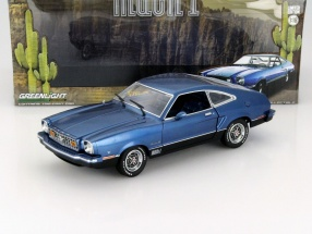 Ford Mustang II Mach 1 year 1976 blue / black 1:18 Greenlight
