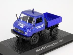 Mercedes-Benz Unimog U411 Technisches Hilfswerk Baujahr 1956 blau 1:43 Atlas