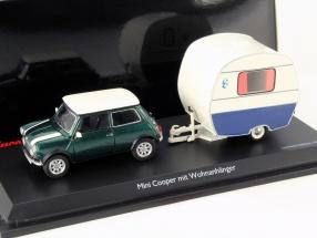 Mini Cooper with Caravan dark green / white / blue 1:43 Schuco