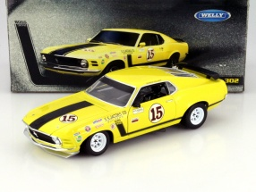 Ford Mustang Boss 302 Year 1970 #15 George Follmer yellow 1:18 Welly