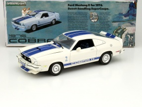 Ford Mustang 2 Cobra II The Mustang Garage year 1976 white / blue 1:18 Greenlight