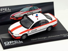 Opel Omega Swiss police year 1994-1998 white / red 1:43 Altaya