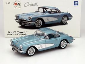 Chevrolet Corvette Baujahr 1958 silberblau 1:18 AUTOart