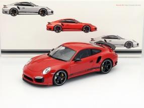 Porsche 911 (991) TurboS Exclusive GB Edition RHD rot mit Vitrine 1:18 GT-Spirit