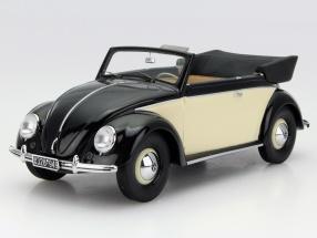 Volkswagen VW 1200 Käfer Cabriolet Baujahr 1949 schwarz / creme 1:18 Minichamps