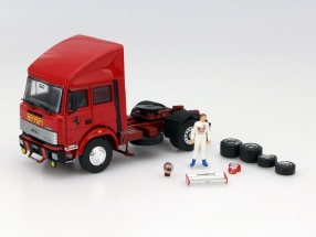 Race Transporter Set Fiat Iveco 190 and Ferrari 126C2 #27 F1 1982 1:43 Brumm