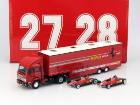 Race Transporter Set Fiat Iveco 190 and Ferrari 126C2 #27, #28 F1 1982 1:43 Brumm
