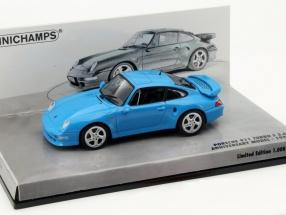 Porsche 911 (993) Turbo S 3.6 Anniversary model 1998 blue 1:43 Minichamps