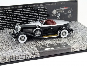 Düsenberg Model J Torpedo Convertible Coupe Baujahr 1929 schwarz / silber 1:43 Minichamps
