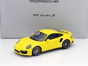 Porsche 911 (991) II Turbo S racing gelb mit Vitrine 1:18 Spark