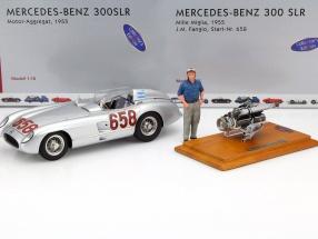 Mercedes-Benz 300 SLR #658 Set mit Motor und Fahrerfigur Mille Miglia 1955 1:18 CMC