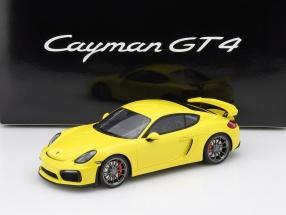 Porsche Cayman GT4 with showcase Year 2015 yellow 1:18 GT-SPIRIT