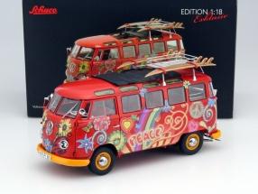 Volkswagen VW T1 samba bus hippie With porter / surfboards 1:18 Schuco