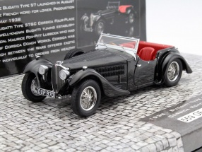 Bugatti Type 57SC Corsica Raodster Year 1938 black 1:43 Minichamps