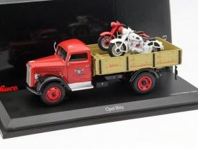 Opel Blitz Pritsche mit 2 Horex Motorrädern rot / schwarz / weiß 1:43 Schuco