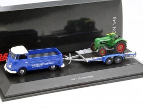 Volkswagen VW T1 Pritsche mit Anhänger und Porsche Diesel blau / grün 1:43 Schuco
