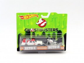 2-Car Set Ghostbusters Ecto-1 Car and Ecto-2 Bike white 1:64 HotWheels