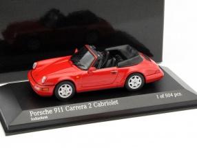 Porsche 911 Carrera 2 Cabriolet Year 1990 guards red 1:43 Minichamps