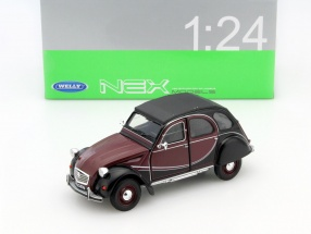 Citroen 2CV6 Charleston Year 1982 dark red / black 1:24 Welly
