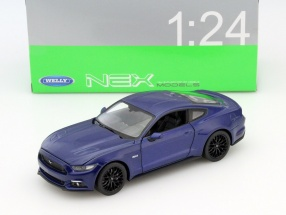 Ford Mustang GT Year 2015 blue 1:24 Welly