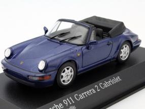 Porsche 911 Carrera 2 Cabriolet Year 1990 cobalt blue metallic 1:43 Minichamps