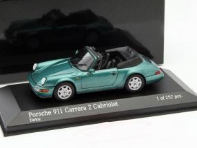 Porsche 911 (964) Carrera 2 Baujahr 1990 grün metallic 1:43 Minichamps