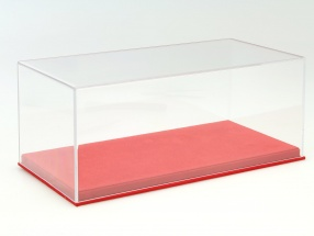 high acrylic showcase with alcantara baseplate for model cars in the scale 1:18 red BBR