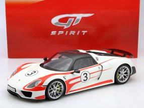Porsche 918 Spyder #3 Weissach Package weiß / rot 1:12 GT-SPIRIT