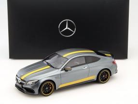 Mercedes-Benz AMG C 63 S Coupe Edition 1 selenit grau / gelb 1:18 GT-SPIRIT