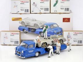 "Set: 5x Figutec + Mercedes-Benz ""blaues Wunder"" mit MB 300 SLR #701 Dirty Hero 1:18 CMC"
