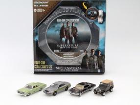 4-Car Set TV-Serie Supernatural 2005 schwarz / grün / grau / braun 1:64 Greenlight