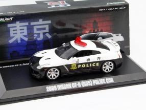 Nissan GT-R (R35) Police Car Baujahr 2008 weiß / schwarz 1:43 Greenlight