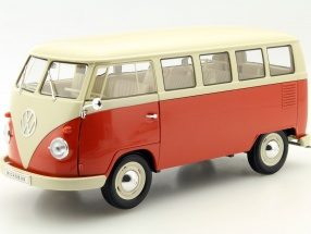 Volkswagen VW T1 Bus Window Van year 1963 red / cream 1:18 Welly