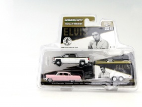 3-Car Set Elvis Chevrolet Silverado with Car Hauler and Cadillac Fleetwood 1:64 Greenlight