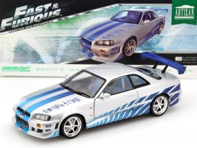 2 Fast 2 Furious Brian's Nissan Skyline GT-R (R34) year 1999 1:18 Greenlight