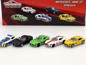 5-Car Set Mercedes-Benz AMG GT schwarz / grün / gelb / weiß / rot / blau 1:64 Majorette