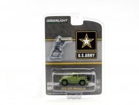 Jeep Wrangler US Army Baujahr 2016 mit Soldat Figur grün 1:64 Greenlight