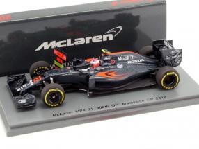 Jenson Button McLaren MP4-31 #22 300th GP Malaysia GP Formel 1 2016 1:43 Spark