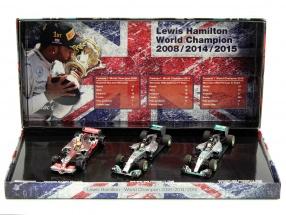 3-Car Set L. Hamilton Weltmeister F1 2008 #22, 2014 #44, 2015 #44 1:43 Minichamps