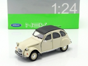 Citroen 2CV year 1975 cream 1:24 Welly