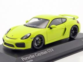 Porsche Cayman GT4 year 2016 acid green 1:43 Minichamps