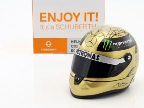 M. Schumacher Mercedes GP formula 1 Spa 2011 gold helmet 1:2 Schuberth