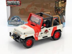 Jeep Wrangler Baujahr 1992 Film Jurassic World 2015 rot / weiß 1:24 Jada Toys