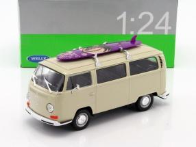 Volkswagen VW T2 Bus mit Surfbrett Baujahr 1972 creme 1:24 Welly
