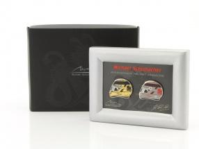 Michael Schumacher Pin Set Helme gold / platin